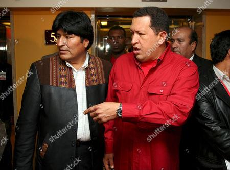 Bolivan President Juan Evo Morales Ayma and Venezuelan President Hugo Chavez