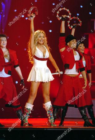 "Ukraine's entry, singer Tina Karol singing ""Show Me Your Love"""