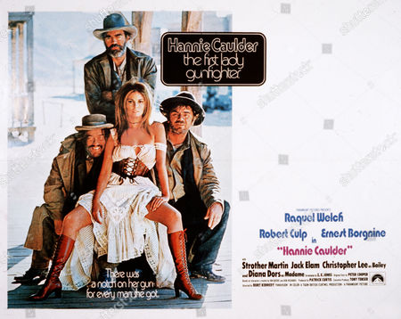 Stock Picture of Strother Martin, Jack Elam, Raquel Welch, Ernest Borgnine