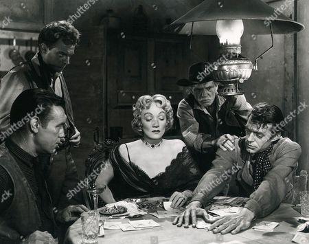 Stuart Randall, Arthur Kennedy, Marlene Dietrich, Francis McDonald, Jack Elam