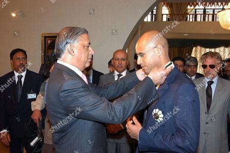 Shaukat Aziz with Saif Al Eslam M Al Gaddafi, son Muammar Al Gaddafi
