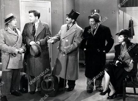 Stock Photo of Harpo Marx, Frank Albertson, Groucho Marx, Chico Marx, Lucille Ball