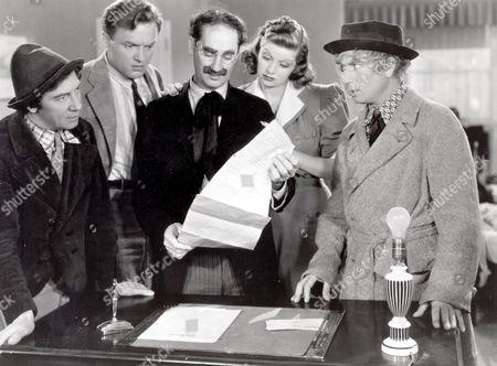 Chico Marx, Frank Albertson, Groucho Marx, Lucille Ball, Harpo Marx