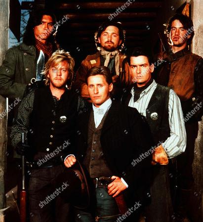 Stock Image of Lou Diamond Phillips, Kiefer Sutherland, Emilio Estevez, Casey Siemaszko, Charlie Sheen, Dermot Mulroney