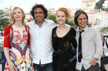 Cate Blanchett, director Alejandro Gonzales Inarritu , Rinko Kikuchi and Gael Garcia Bernal