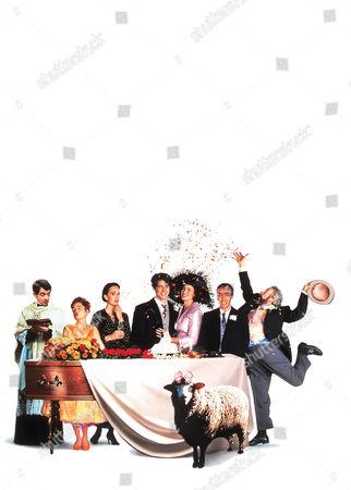 Stock Photo of Rowan Atkinson, Charlotte Coleman, Kristin Scott Thomas, Hugh Grant, Andie Macdowell, John Hannah, Simon Callow