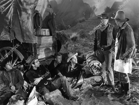 Noah Beery Jr, Montgomery Clift, Harry Carey Jr, John Ireland, John Wayne, Walter Brennan