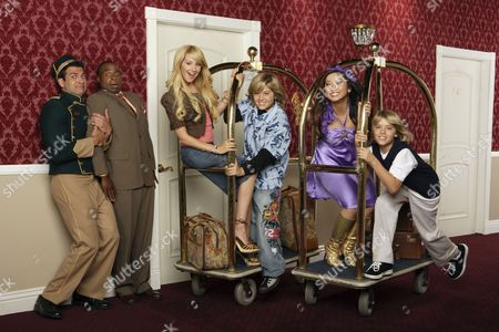 Stock Photo of Adrian D'Mante, Phill Lewis, Ashley Tisdale, Cole & Dylan Sprouse, Brenda Song