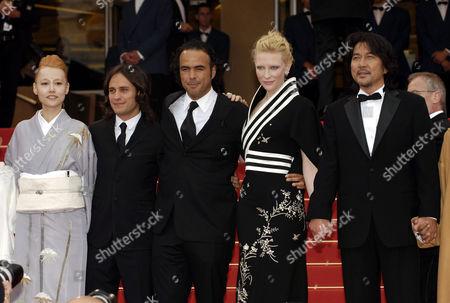 Rinko Kikuchi, Gael Garcia Bernal, Alejandro Gonzales Inarritu, Cate Blanchett and Koji Yakusho