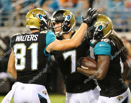 Bryan Walters, Chad Henne, Denard Robinson Jacksonville Jaguars wide receiver Bryan Walters (81), quarterback Chad Henne (7) and running back Denard Robinson, right, celebrate after Robinson scored on a 2-point conversion play against the Cincinnati Bengals during the second half half of an NFL preseason football game in Jacksonville, Fla