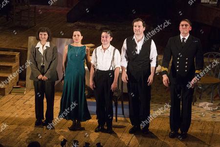 Ruby Bentall (Carson McCullers), Sadie Frost (Gypsy Rose Lee), Ryan Sampson (Benjamin Britten), John Hollingworth (WH Auden) and David Burnett (John Dunne) during the curtain call