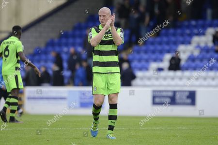 Forest Green Rovers defender Charlie Clough (5) applauds the fans 1-2 during the Vanarama National League match between Chester and Forest Green Rovers at the Deva Stadium, Chester