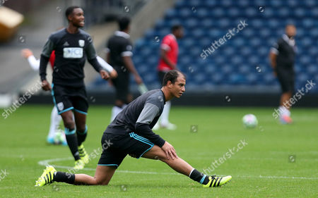 Marouane Chamakh of West Bromwich Albion warms up before the International friendly match between West Bromwich Albion and Delhi Dynamos played at The Hawthorns, West Bromwich on 3rd September 2016