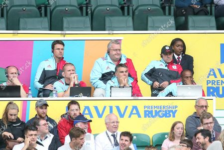 Harlequins coaching staff John Kingston, Nick Easter and Graham Rowntree during the Aviva Premiership match between Harlequins and Bristol Rugby played at Twickenham Stadium, London on 3rd September 2016