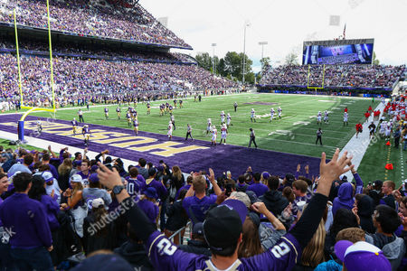 Washington fans celebrate after a long kick return by John Ross III during the a game between the Washington Huskies and Rutgers Scarlet Knights at Husky Stadium in Seattle, WA on , 2016. Washington defeated Rutgers 48-13