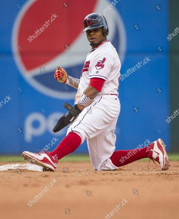 Rajai Davis Cleveland Indians' Rajai Davis reacts after stealing second base during a baseball game against the Miami Marlins in Cleveland