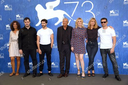 Director Katell Quillevere, Emmanuelle Seigner, Tahar Rahim, Kool Shen, Karim Leklou and the writer of the novel Maylis de Kerangal