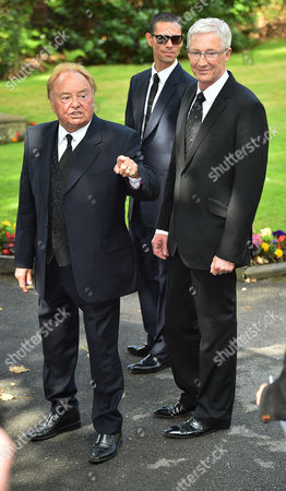 Editorial image of Cilla Black Funeral - Gerry Marsden And Paul O'grady (r) Arrives At St.mary' Rc Church Woolton Liverpool Merseyside. Pic Bruce Adams / Copy Unknown - 20/8/15.