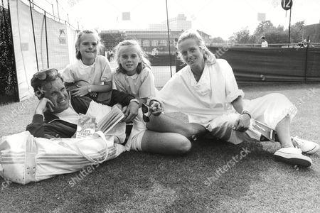 Wojtek Fibak Former Coach/manager Of Tennis Player Ivan Lendl With His Wife Eva And Daughters Agnieska And Pusia. Box 703 402081631 A.jpg.