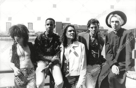 Editorial photo of Pop Group Duran Duran. Members Of L-r: Warren Cuccurullo Sterling Campbell Simon Le Bon John Taylor And Nick Rhodes. Box 703 402081649 A.jpg.