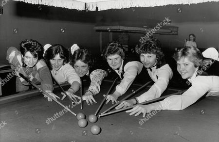 Girl Snooker Players Competing In The Southern Championships At Bournemouth Today. L-r: Stacey Hillyard Caroline Walch Gaye Jones Angela Jones Mandy Fisher And Allison Fisher. Box 703 402081628 A.jpg.