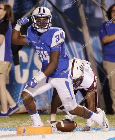Tyshawn Brown, Reginald Paige Middle Tennessee safety Tyshawn Brown (34) celebrates after scoring on a 16-yard pass against Alabama A&M defensive back Reginald Paige, right, in the second half of an NCAA college football game, in Murfreesboro, Tenn
