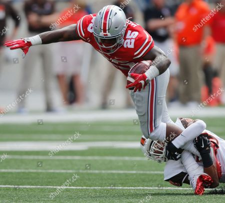 Mike Weber, Ben Hale Ohio State running back Mike Weber, left, tries to escape the grasp of Bowling Green defensive back Ben Hale during the first half of an NCAA college football game, in Columbus, Ohio