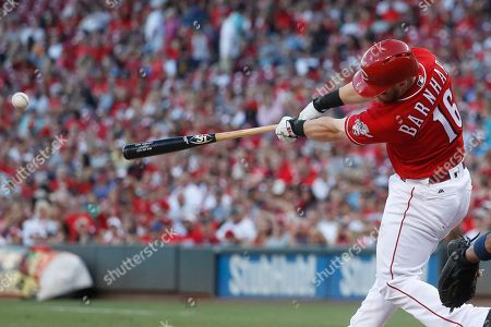 Tucker Barnhart Cincinnati Reds' Tucker Barnhart hits a two-run double off St. Louis Cardinals starting pitcher Jerome Williams in the eighth inning of a baseball game, in Cincinnati. The Reds won 9-1