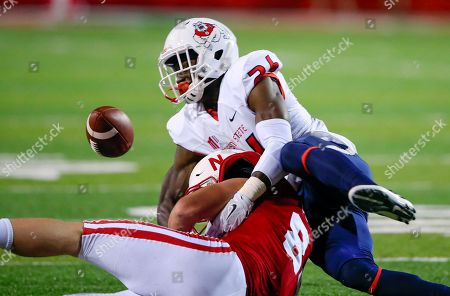 Sam Cotton, Lukas McKenzie Fresno State linebacker Lukas McKenzie (26) breaks up a pass intended for Nebraska tight end Sam Cotton (84) during the second half of an NCAA college football game in Lincoln, Neb