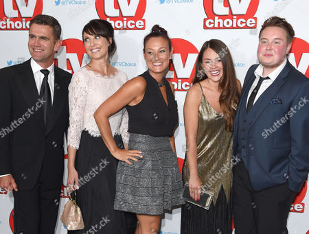 Stock Image of Eastenders cast (L-R) Scott Maslen, Emma Barton, Luisa Bradshaw-White, Lacey Turner and Riley Carter Millington