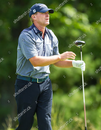 Steven Stricker at the 14th tee box during the final round of the Deutsche Bank Championship at TPC Boston