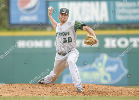 Stock Picture of Fort Wayne TinCaps pitcher Blake Rogers (30) throws pitch