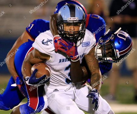 Khayri Denny, Keith Loneker Jr Rhode Island wide receiver Khayri Denny (3) is tackled by Kansas linebacker Keith Loneker Jr. (20) during the second half of an NCAA college football game in Lawrence, Kan., . Kansas defeated Rhode Island 55-6