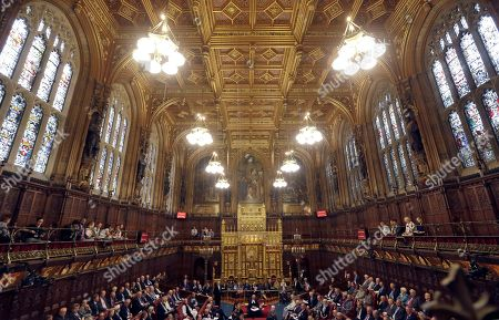 Lord Norman Fowler, the new Lord Speaker, speaks in the House of Lords chamber during his first sitting, in Parliament, London