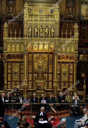 Lord Norman Fowler, the new Lord Speaker, sits in the House of Lords chamber during his first sitting, in Parliament, London