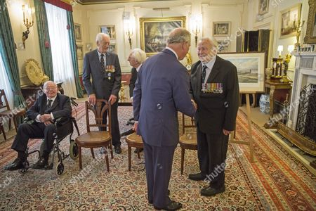 Stock Image of Prince Charles with says goodbye to Sq Leader Geoffrey Wellum
