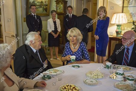 Stock Picture of Camilla Duchess of Cornwall with Squadron Leader Geoffrey Wellum (left)