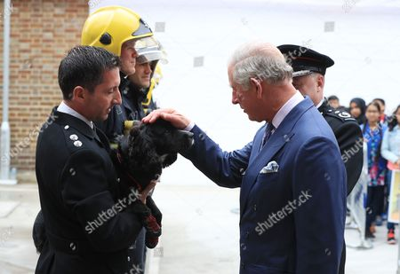 Prince Charles and fire inspector Paul Osborne with fire investigation dog Sherlock