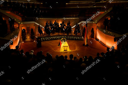 The coffin of former German President Walter Scheel is displayed during a state funeral service in Berlin, . Walter Scheel, who helped shape West Germany's policy of reconciliation with the communist bloc as foreign minister and later served as his country's president, died Aug. 24, 2016. He was 97