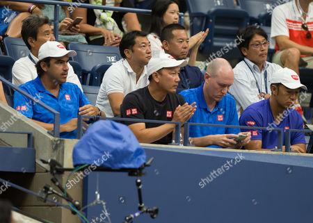 Kei Nishikori's team, L-R. Coach Dante Bottini, Michael Chang,Manager Olivier van Lindonk and Physio Koichi Nakao