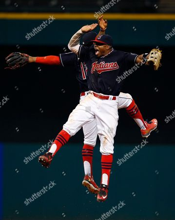 Francisco Lindor, Rajai Davis Cleveland Indians' Francisco Lindor (12) and Rajai Davis (20) celebrate a 6-5 win over the Houston Astros in a baseball game, in Cleveland