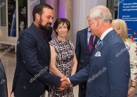Evening Standard owner Evgeny Lebedev, Dame Lady Mary Archer and Prince Charles