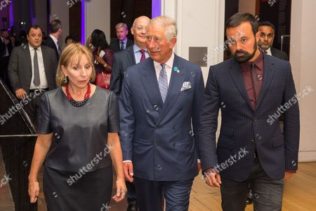 Evening Standard Editor Sarah Sands, Prince Charles and Evening Standard owner Evgeny Lebedev