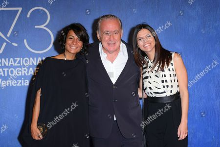 The director Michele Santoro with the screenwriters Micaela Arrocco and Maddalena Oliva