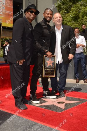 Stock Picture of Terry Lewis, Usher and Harvey Weinstein