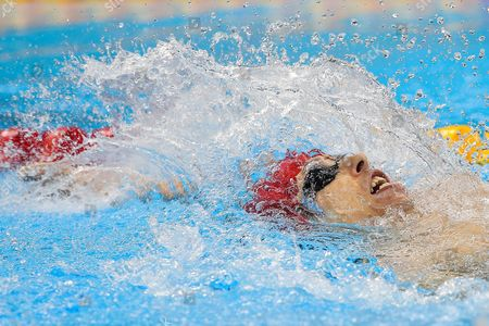 Stock Image of World Record holder Jonathan Fox of Great Britain gets the Silver Medal in the Men's 100m Backstroke S7 Final.