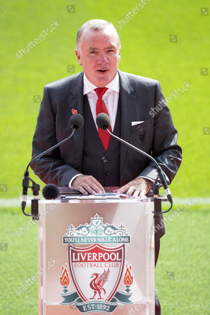 Liverpool Chief Executive Ian Ayre makes a speech on the pitch at the official opening of the newly rebuilt Main Stand at Anfield, Liverpool on 09th September 2016