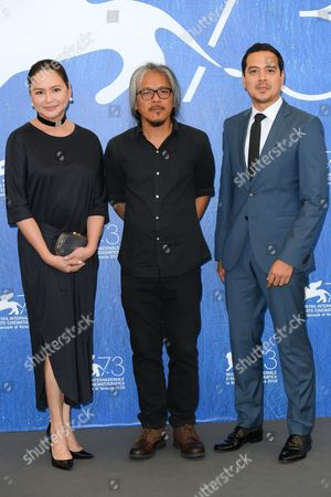 Charo Santos-Concio, the director Lav Diaz, John Lloyd Cruz