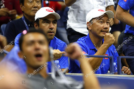 Michael Chang, coach of Kei Nishikori of Japan, celebrates during the US Open 2016 at the Billie Jean King Tennis Centre, Queens, New York on the 8th September 2016