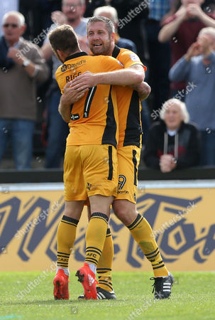 Stock Photo of Jonathan Parkin of Newport County celebrates scoring a goal with Sean Rigg.
